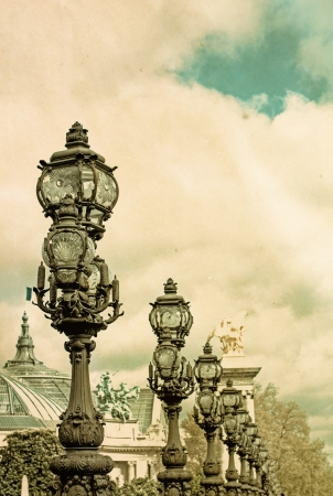 iii: Retro Lamps at Pont Alexandre III arch bridge Stock Photo