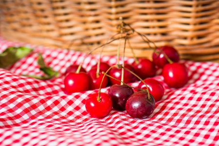 fresh cherries on red napkin photo