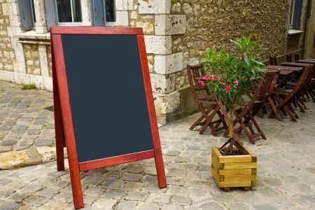 street view of a Restaurants terrace with blackboard photo