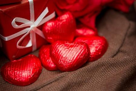 Valentines Chocolate-Love sweet heart shaped chocolates candies photo