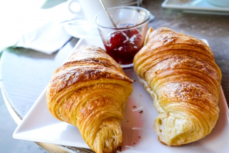 traditionally french: Breakfast with coffee and croissants