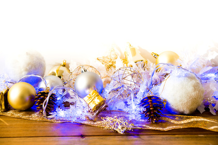 christmas decoration over lights background photo
