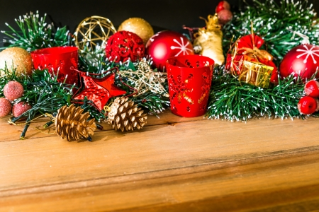 christmas decoration on vintage Wood texture photo