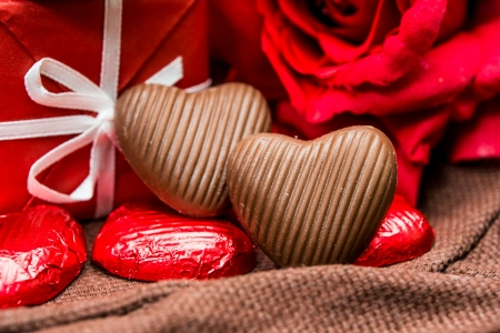 Love sweet heart shaped chocolates candies photo