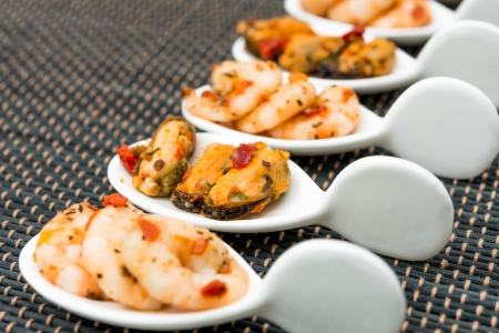 Mussel and Shrimpwith white wine sauce on table Stock Photo - 22676451