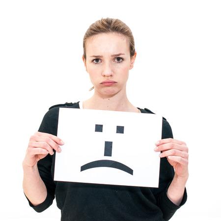 fille triste: portrait jeune femme avec le conseil ?motic?ne signe visage triste