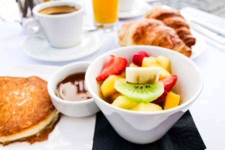 breakfast food: Breakfast with coffee and croissants on table Stock Photo