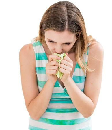 woman using tissue on white background Stock Photo - 23050862