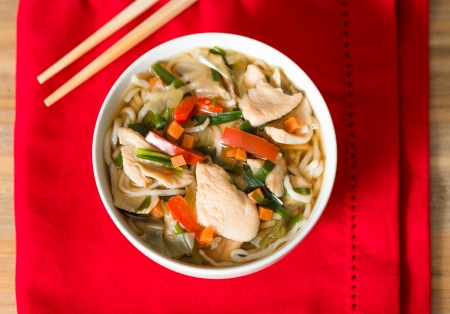 Bowls of Asian soup noodles and vegetables with Chopstick  photo