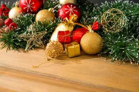 christmas decoration on the wooden table  photo
