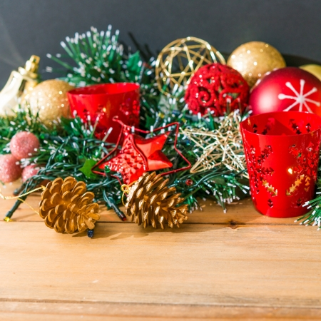 christmas decoration over dark background photo