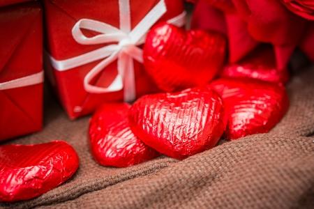 Love sweet heart shaped chocolates candies photo