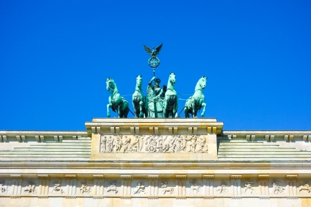Brandenburg Gate (Brandenburger Tor), famous landmark in Berlin, Germany,rebuilt in the late 18th century as a neoclassical triumphal arch photo