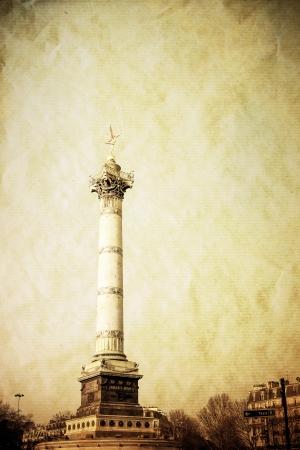 retro style Place de la Bastille in Paris, France photo