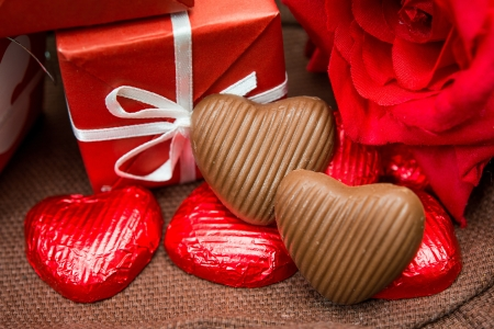 Valentine's Chocolate-Love sweet heart shaped chocolates  photo