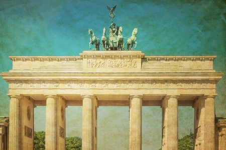Retro Brandenburg Gate (Brandenburger Tor), famous landmark in Berlin, Germany photo