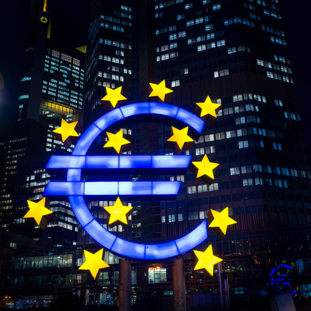 monetary policy: Euro Sign - February 12 : Euro Sign. European Central Bank (ECB) is the central bank for the euro and administers the monetary policy of the Eurozone. February 12, 2014 in Frankfurt, Germany.  Editorial