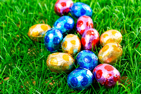 Easter eggs Chocolate-colorful easter eggs for your easter design photo
