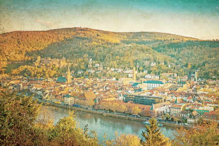 Vintage view to old town of Heidelberg, Germany  photo
