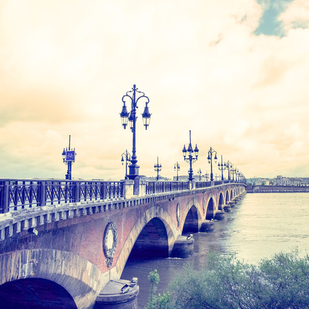 Old stony bridge in Bordeaux, France Europe Stock Photo - 28056035