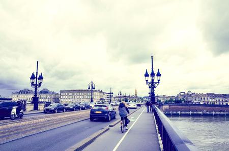 Old stony bridge in Bordeaux, France Europe Stock Photo - 28056039