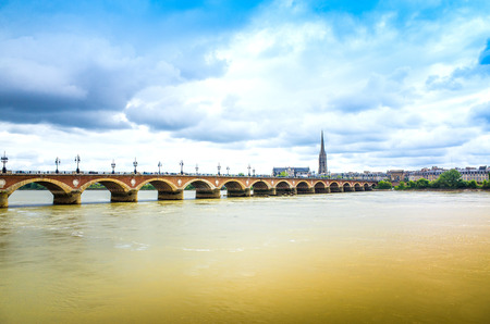 Old stony bridge in Bordeaux, France Europe Stock Photo - 28353894