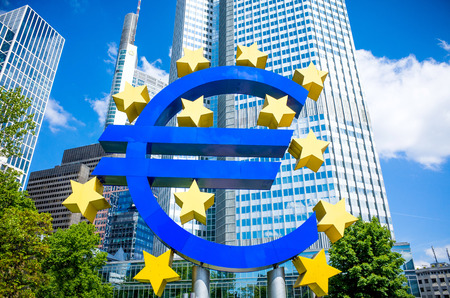 eurozone: Euro Sign - MAY 16 : Euro Sign. European Central Bank (ECB) is the central bank for the euro and administers the monetary policy of the Eurozone. May 16, 2014 in Frankfurt, Germany.