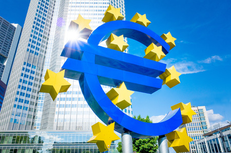monetary policy: Euro Sign - MAY 16 : Euro Sign. European Central Bank (ECB) is the central bank for the euro and administers the monetary policy of the Eurozone. May 16, 2014 in Frankfurt, Germany.