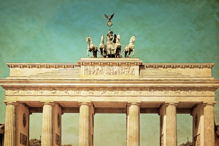 Vintage Brandenburg Gate (Brandenburger Tor), famous landmark in Berlin, Germany,rebuilt in the late 18th century as a neoclassical triumphal arch photo