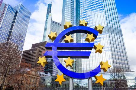 eurozone: Euro Sign - February 12 : Euro Sign. European Central Bank (ECB) is the central bank for the euro and administers the monetary policy of the Eurozone. February 12, 2014 in Frankfurt, Germany.  Editorial