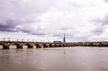 Bordeaux river bridge with St Michel cathedral ,France Stock Photo - 29094049