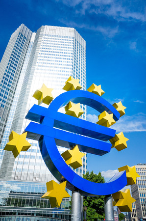 eurozone: Euro Sign - May 17 : Euro Sign. European Central Bank (ECB) is the central bank for the euro and administers the monetary policy of the Eurozone. May 17, 2014 in Frankfurt, Germany.
