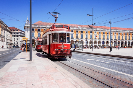 tramway: Lisbon,Portugal-May 11: Typical,Tramway on May 11, 2014. Beautiful Tramway in  Lisbon, Portugal, Europe