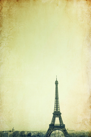 parisian scene: retro style Eiffel Tower - with space for text or image