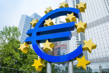 monetary policy: Frankfurt, Germany- July 11: Euro Sign. European Central Bank (ECB) is the central bank for the euro and administers the monetary policy of the Eurozone.July 11, 2014 in Frankfurt, Germany.