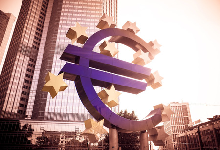 ecb: Frankfurt, Germany- July 11: Euro Sign. European Central Bank (ECB) is the central bank for the euro and administers the monetary policy of the Eurozone.July 11, 2014 in Frankfurt, Germany.