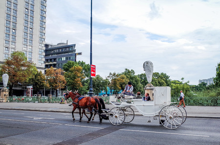 VIENNA, AUSTRIA-July 4: a horse and carriage carries tourists on JULY 4, 2014 in Vienna, St. Stephens Cathedral is the most important religious building in Vienna.