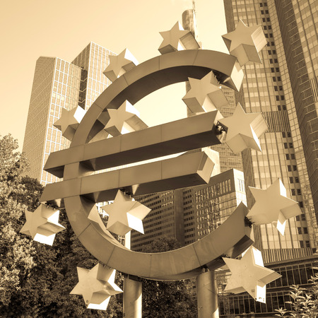 the central bank: Frankfurt, Germany-July 11: Euro Sign. European Central Bank (ECB) is the central bank for the euro and administers the monetary policy of the Eurozone. July 11, 2014 in Frankfurt, Germany.