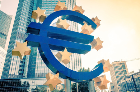 monetary policy: Frankfurt, Germany-July 11: Euro Sign. European Central Bank (ECB) is the central bank for the euro and administers the monetary policy of the Eurozone. July 11, 2014 in Frankfurt, Germany.