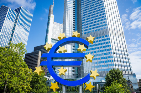 eurozone: Frankfurt, Germany-August 16 : Euro Sign. European Central Bank (ECB) is the central bank for the euro and administers the monetary policy of the Eurozone. February 12, 2014 in Frankfurt, Germany.