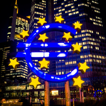eurozone: Frankfurt, Germany-February 12 : Euro Sign. European Central Bank (ECB) is the central bank for the euro and administers the monetary policy of the Eurozone. February 12, 2014 in Frankfurt, Germany.