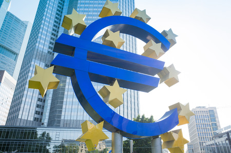 eurozone: Frankfurt, Germany-July 11: Euro Sign. European Central Bank (ECB) is the central bank for the euro and administers the monetary policy of the Eurozone. July 11, 2014 in Frankfurt, Germany.