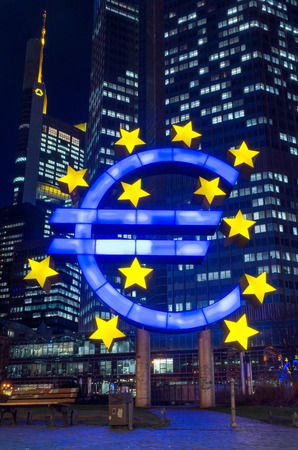 monetary policy: Frankfurt, Germany-February 12 : Euro Sign. European Central Bank (ECB) is the central bank for the euro and administers the monetary policy of the Eurozone. February 12, 2014 in Frankfurt, Germany.