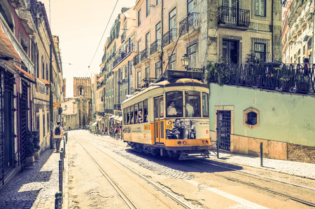 tramway: Lisbon, Portugal-May 11: Typical,Tramway on May 11, 2014. Beautiful Tramway in  Lisbon, Portugal, Europe