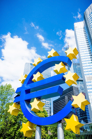 monetary policy: Frankfurt, Germany-May 17 : Euro Sign. European Central Bank (ECB) is the central bank for the euro and administers the monetary policy of the Eurozone. May 17 , 2014 in Frankfurt, Germany. Editorial