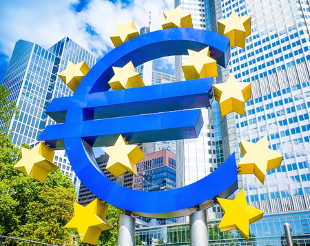 corporate greed: Frankfurt, Germany-May 17 : Euro Sign. European Central Bank (ECB) is the central bank for the euro and administers the monetary policy of the Eurozone. May 17 , 2014 in Frankfurt, Germany. Editorial