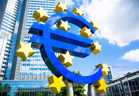 eurozone: Frankfurt, Germany-May 17 : Euro Sign. European Central Bank (ECB) is the central bank for the euro and administers the monetary policy of the Eurozone. May 17 , 2014 in Frankfurt, Germany. Editorial