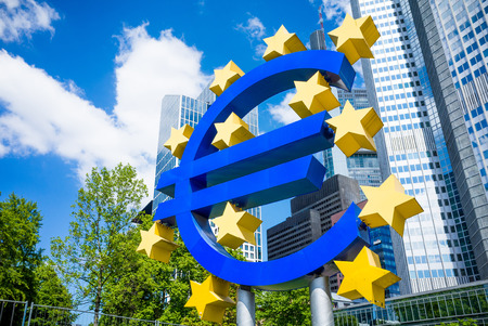 the central bank: Frankfurt, Germany-May 17: Euro Sign. European Central Bank (ECB) is the central bank for the euro and administers the monetary policy of the Eurozone. May 17, 2014 in Frankfurt, Germany.