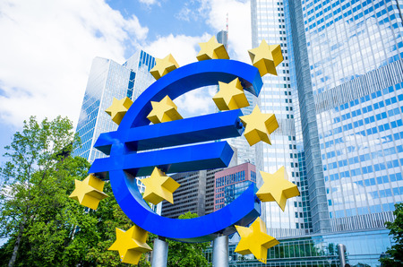 eurozone: Frankfurt, Germany-May 17: Euro Sign. European Central Bank (ECB) is the central bank for the euro and administers the monetary policy of the Eurozone. May 17, 2014 in Frankfurt, Germany.