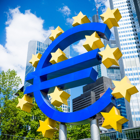 corporate greed: Frankfurt, Germany-May 17: Euro Sign. European Central Bank (ECB) is the central bank for the euro and administers the monetary policy of the Eurozone. May 17, 2014 in Frankfurt, Germany.